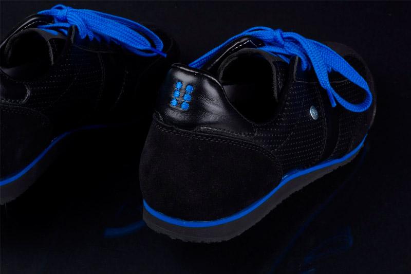 Botas 66 — Classic — Night Rain — kožené boty, černé retro tenisky, bílá podrážka, dámské a pánské