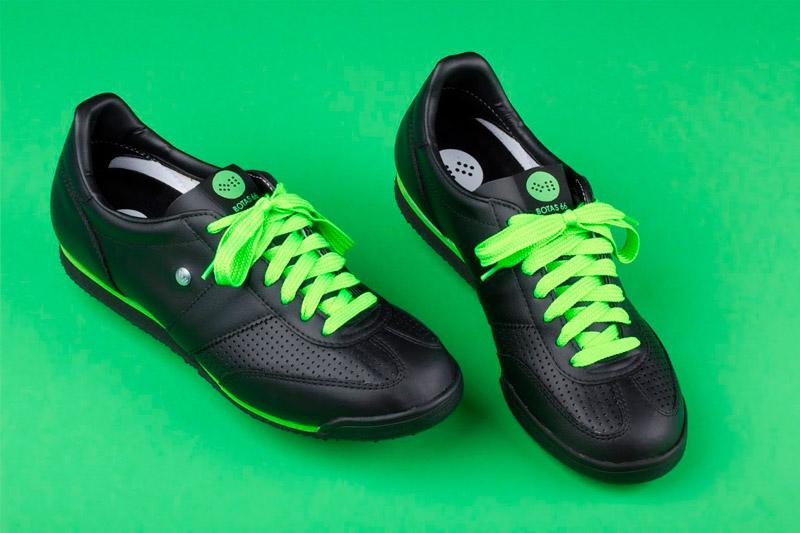 Botas 66 — Classic — Tofu Fresh — dámské a pánské retro tenisky, černé boty, zelené tkaničky