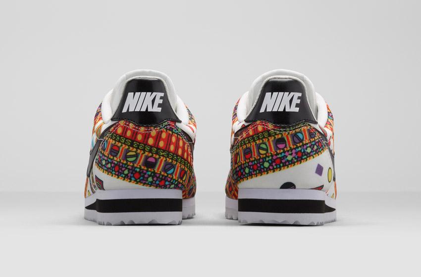 Nike Classic Cortez Liberty Merlin — dámské bílé boty se vzorem, sneakers, tenisky, zadní pohled