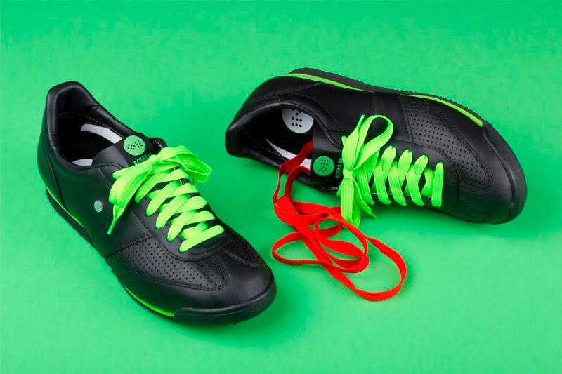 Botas 66 — Classic — Tofu Fresh — pánské a dámské kožené boty, černé retro tenisky, zelené tkaničky