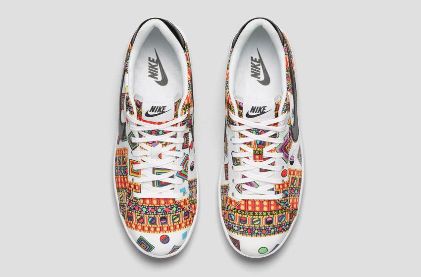 Nike Tennis Classic Ultra Leather Liberty Merlin — dámské bílé boty se vzorem, sneakers, tenisky, horní pohled