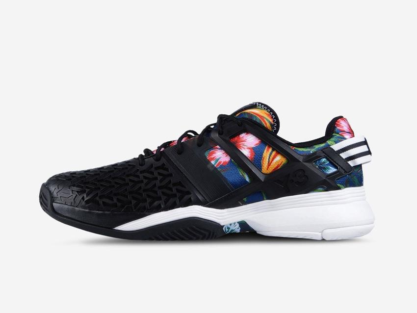 adidas – Roland Garros Y-3 – černé tenisové boty Adizero, barevný květinový motiv, sneakers, tenisky