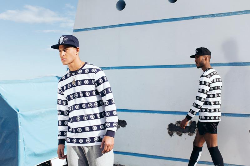 Daily Paper – pánské modro-bílé (černo-bílé) mikiny s pruhy a symboly – trendy oblečení jaro/léto 2015