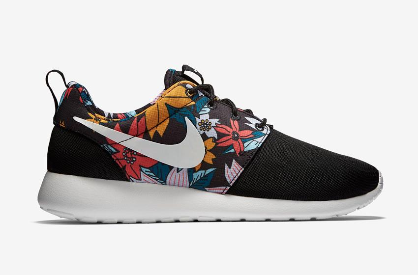 Nike Roshe One – dámské boty, běžecké tenisky, černé, barevný květinový motiv – Roshe Run