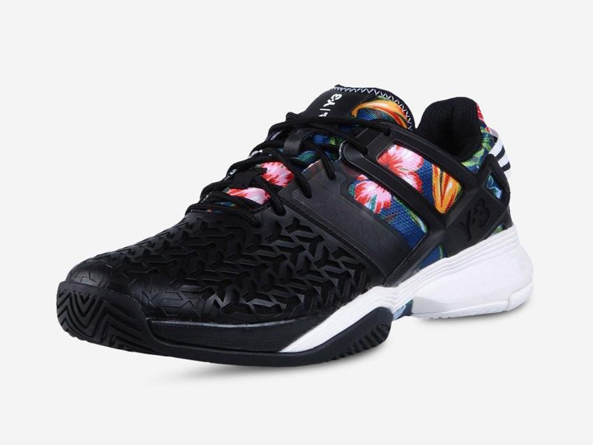 adidas – Roland Garros Y-3 – černé tenisky Adizero, barevný květinový motiv, boty, sneakers