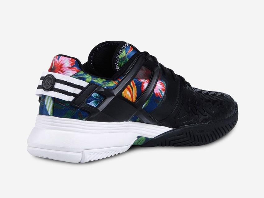 adidas – Roland Garros Y-3 – černé tenisové sneakers Adizero, barevný květinový motiv, boty, tenisky
