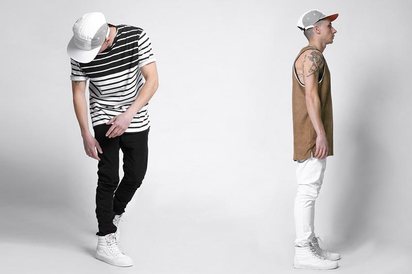 Lakenzie – černobílé pruhované tričko, hnědý perforovaný nátělník (tílko) – oblečení jaro/léto 2015