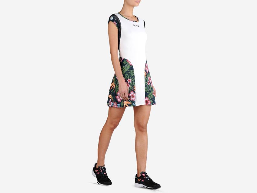 adidas – Roland Garros Y-3 – bílé tenisové šaty s barevným květinovým motivem, dámské sportovní šaty
