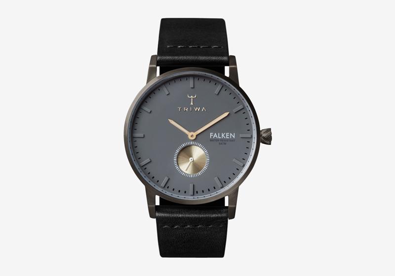 Hodinky Triwa – Walter Falken – pouzdro ocelové tmavě šedé barvy, černý náramek – dámské a pánské, elegantní náramkové