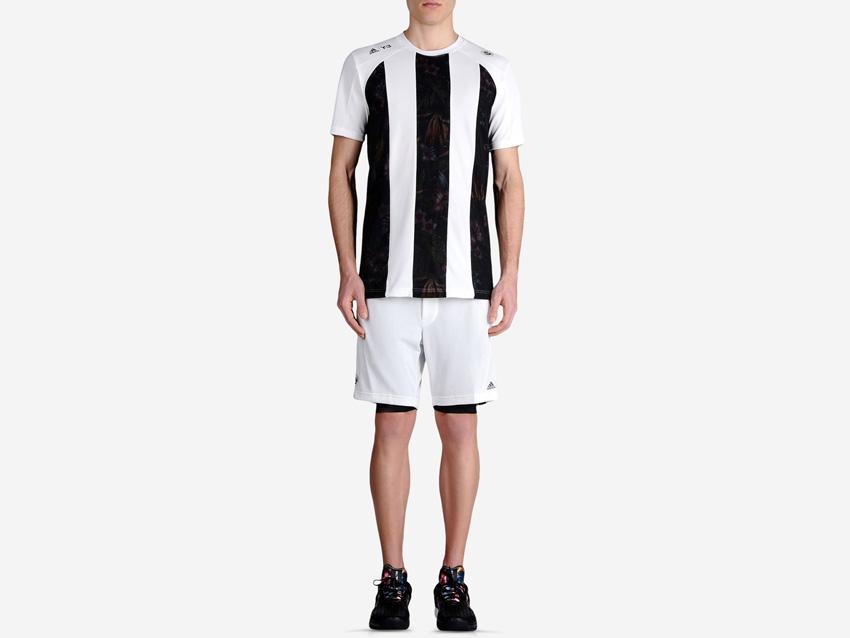 adidas – Roland Garros Y-3 – bílé sportovní tričko s černými pruhy, sportovní bílé šrotky, sportovní oblečení