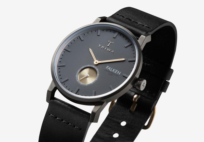 Hodinky Triwa – Walter Falken – pouzdro ocelové tmavě šedé barvy, šedý ciferník, černý řemínek – dámské a pánské, luxusní, náramkové