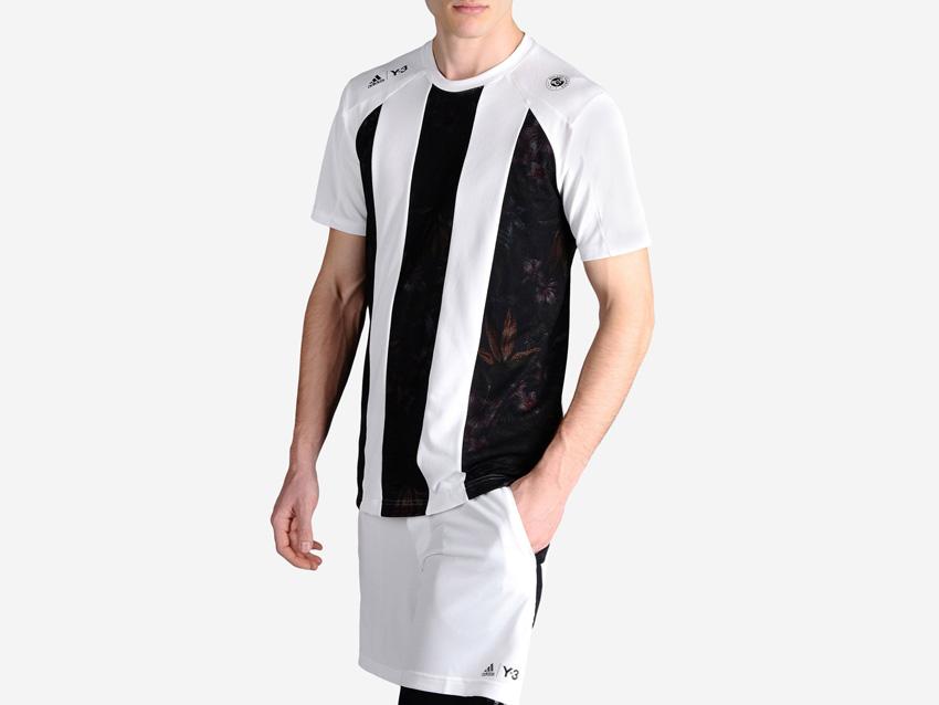 adidas – Roland Garros Y-3 – bílé sportovní tričko s černými pruhy, tenisové tričko