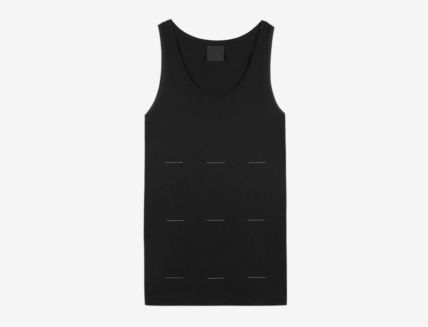 Trinitas – Volume IX – pánský dlouhý černý nátělník, minimal, minimalismus