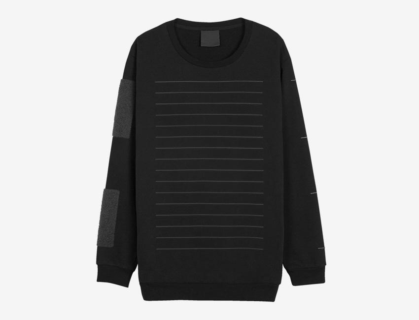 Trinitas – Volume IX – pánská černá dlouhá mikina, minimal, minimalismus