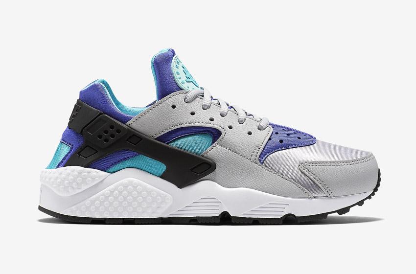 Nike Air Huarache – šedé dámské boty, modré a fialové detaily, tenisky