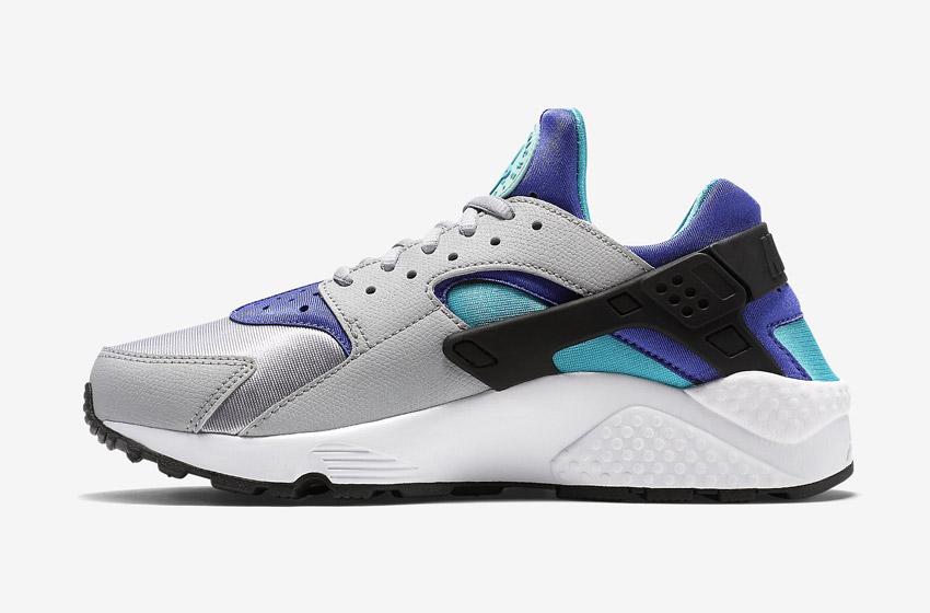 Nike Air Huarache – dámské sneakers, šedé boty (modré a fialové detaily), tenisky