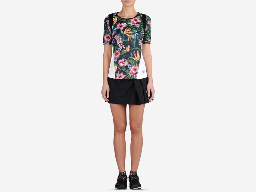 adidas – Roland Garros Y-3 – dámské sportovní tenisové tričko s květinovým motivem, černá sukně