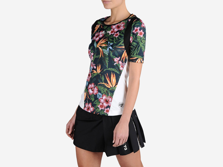 adidas – Roland Garros Y-3 – dámské tenisové tričko s květinovým motivem, sportovní černá sukně