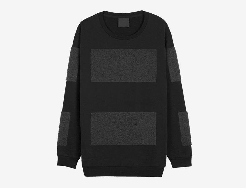 Trinitas – Volume IX – pánská dlouhá černo-šedá mikina, minimal, minimalismus