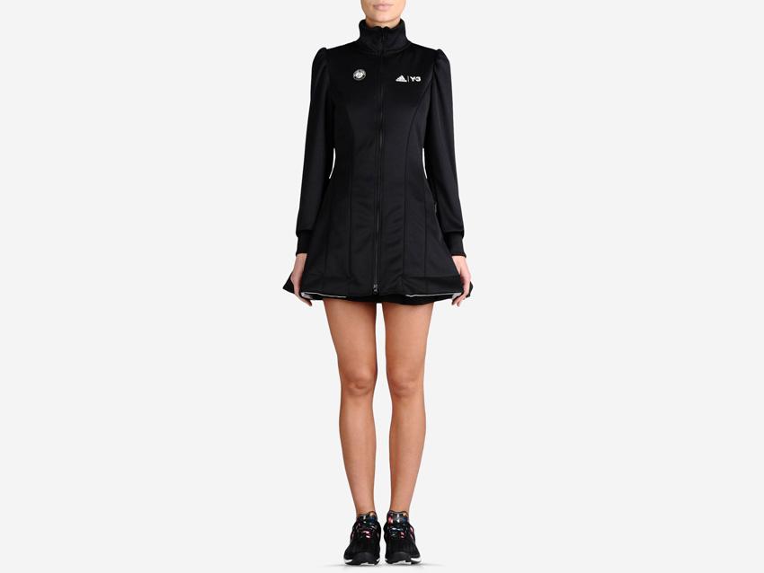 adidas – Roland Garros Y-3 – dámská černá sportovní bunda na zip, dlouhá tenisová bunda