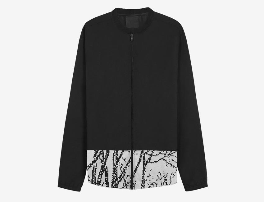 Trinitas – Volume IX – pánská dlouhá bunda na zip, černo-bílá, bitmapa