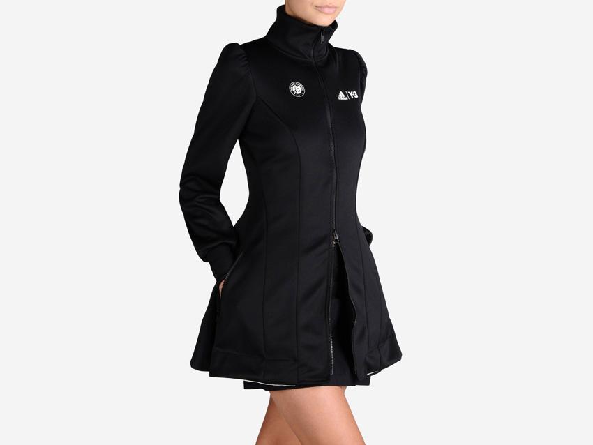 adidas – Roland Garros Y-3 – dámská černá tenisová bunda na zip, dlouhá sportovní bunda