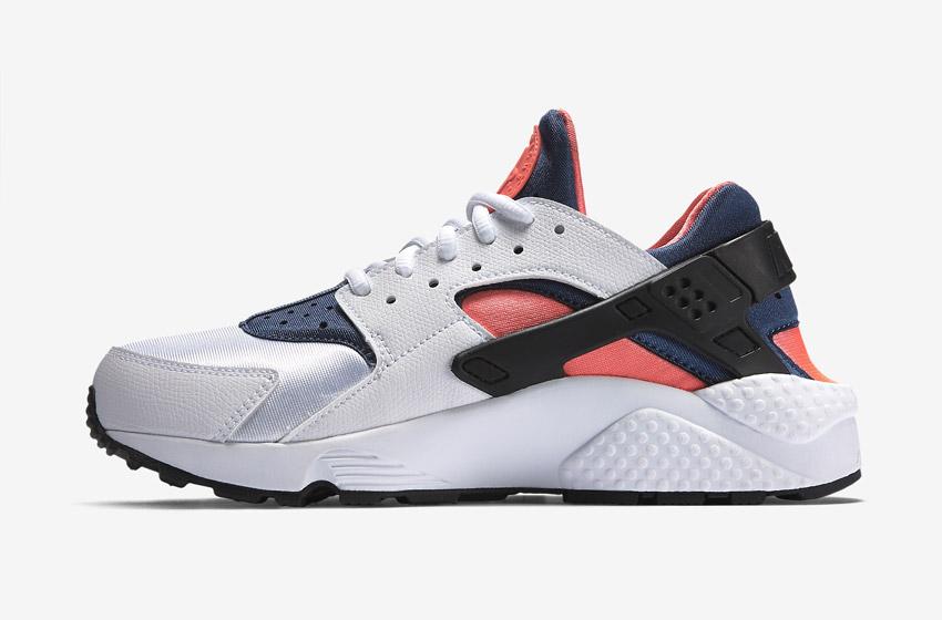 Nike Air Huarache – dámské sneakers, šedé boty (modré a oranžové detaily), tenisky