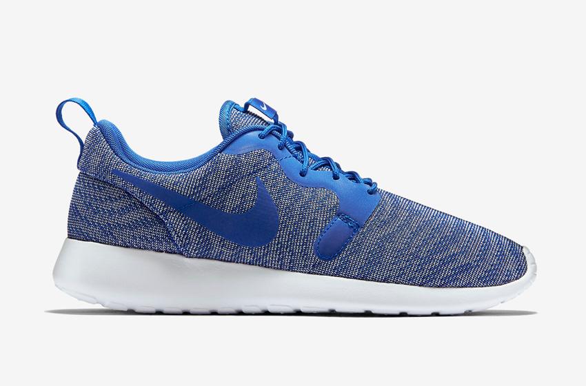 Nike Roshe One Knit Jacquard – modré boty, šedo-modré, bílá podrážka – Nike Roshe Run, tenisky, sneakers