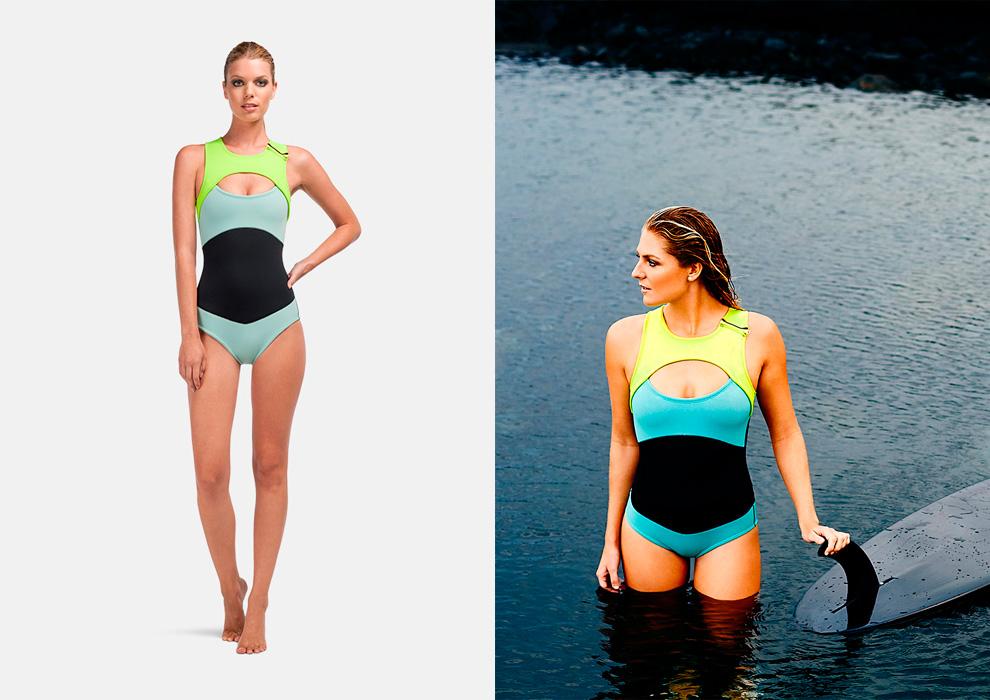 Roxy – dámské plavky, jednodílné, surfařské, barevné, modré, černé, zeleno-žluté, swimwear