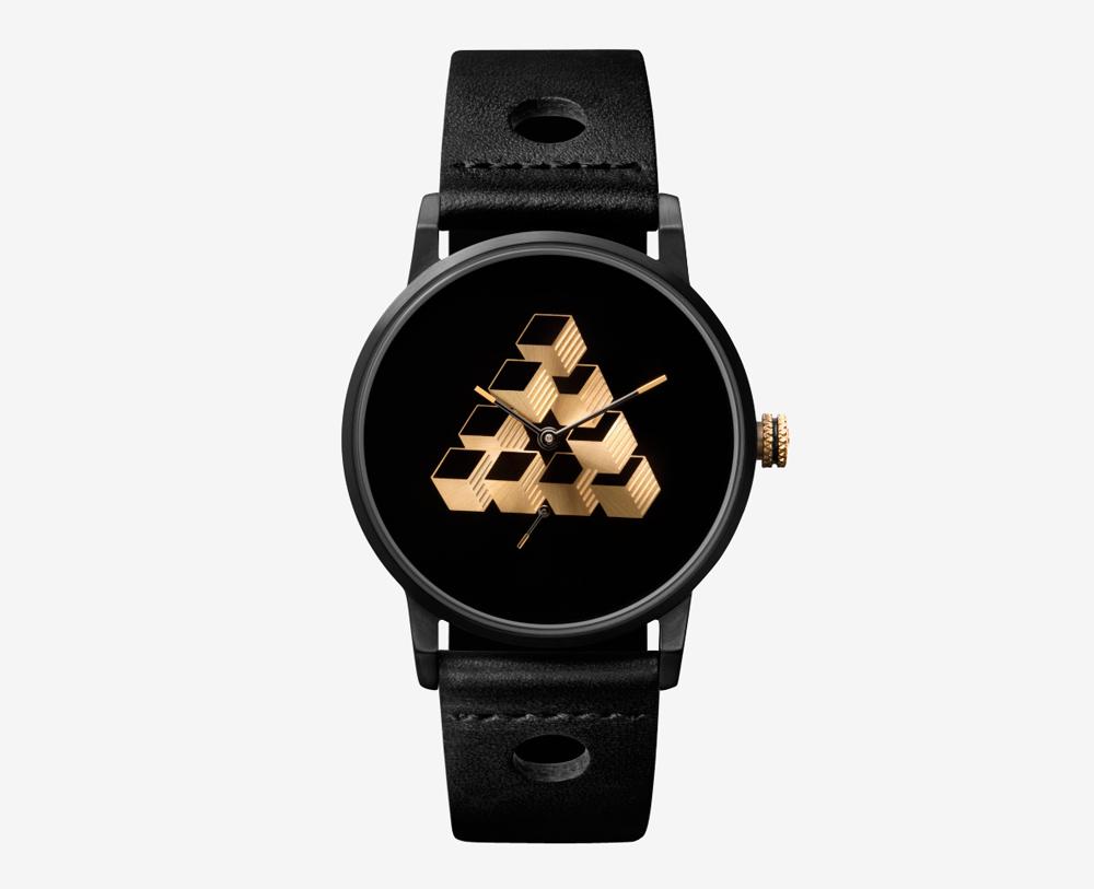 Triwa x Erïk Bjerkesjö – No. 1, černé hodinky, pánské a dámské – náramkové, kožený náramek, ocelové pouzdro, trojúhelník na ciferníku, M. C. Escher, watches