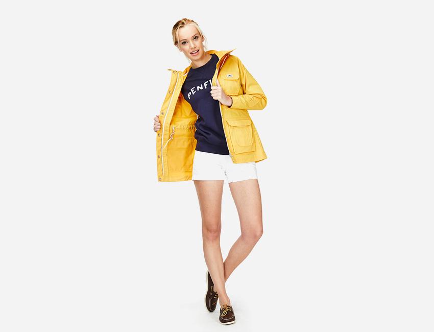 Penfield – žlutá bunda s kapucí, dámská, jarní/letní, bílé kraťasy, šortky – dámské oblečení – jaro/léto 2015