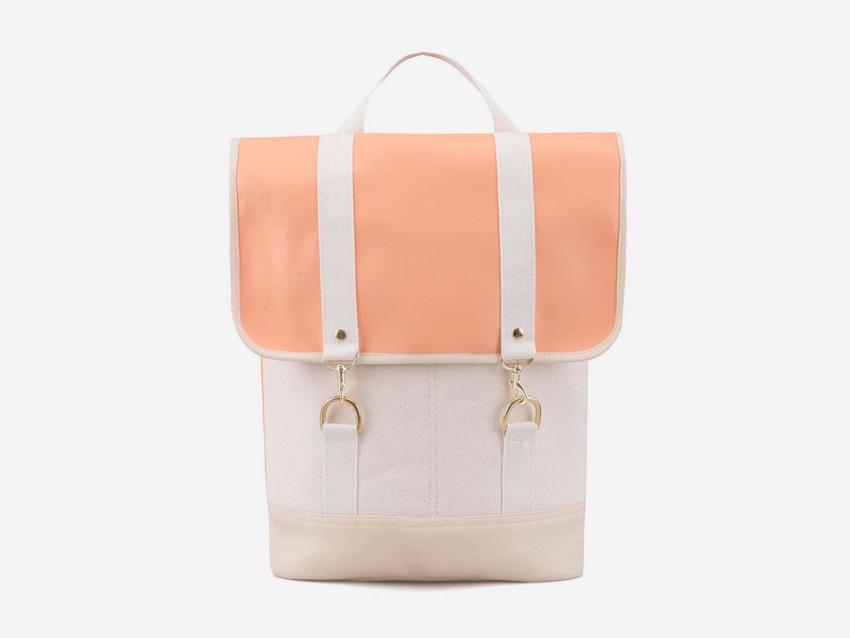 Plátěný batoh Zoot & Mumray – světle oranžový (meruňková barva), bílá, bavlněný batoh na záda