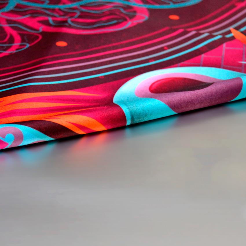 MAMAMA x Nicolas Barrome – dámský šátek s psychedelickou ilustrací, červený, modrý, barevný, scarf