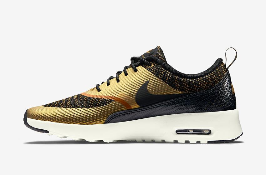 Nike Air Max Thea Jacquard – dámské boty, dámské tenisky – bronzové, zlaté, černé – běžecké sneakers