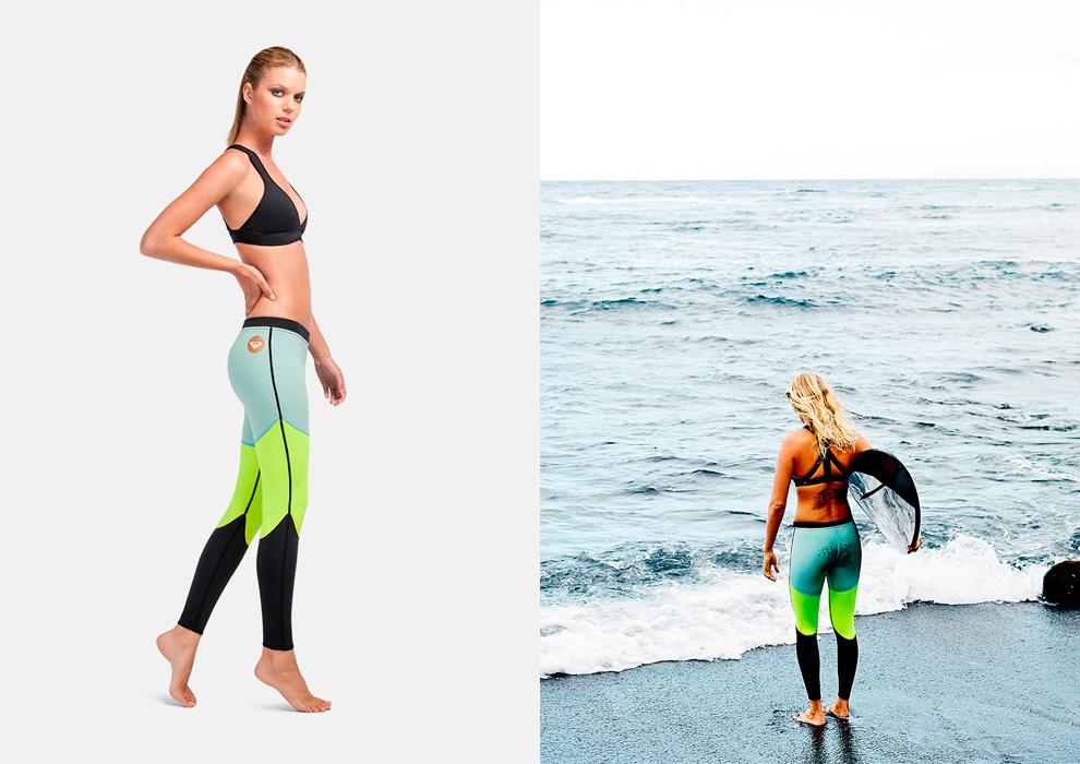 Roxy – plavky – dámské, černé, surfařské kalhoty, legíny – modré, zeleno-žluté, černé, swimwear