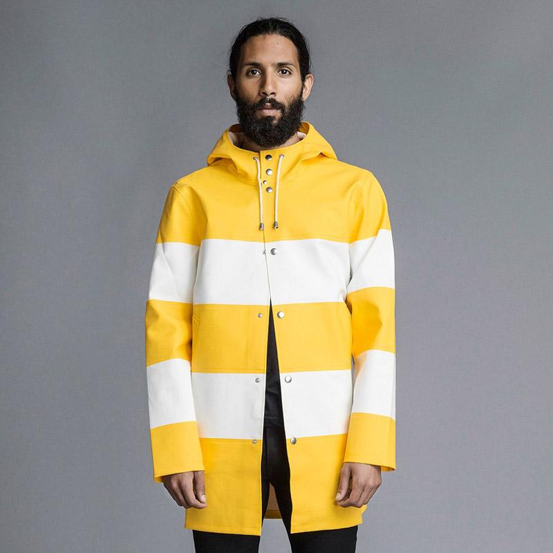 Stutterheim – plášť do deště s kapucí – pánský, dámský – žluto-bílý, bílo-žlutý