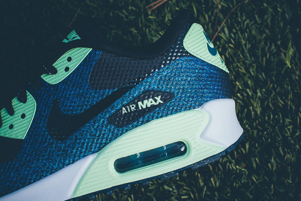 Nike Air Max 90 Hyperfuse WMNS WC QS – dámské boty, modré tenisky, zelené detaily, sneakers, FIFA Women's World Cup Canada 2015