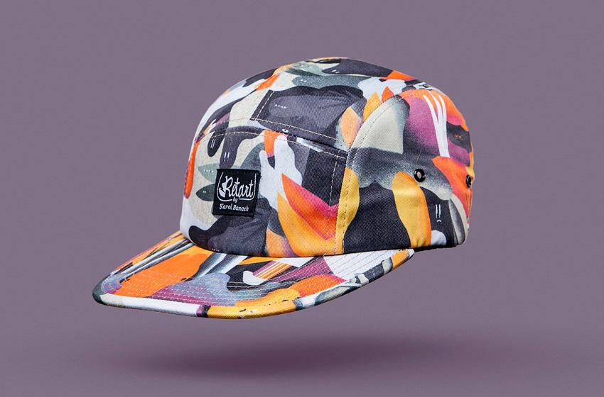 Retart – kšiltovka s rovným kšiltem – barevná pětipanelka s potiskem, 5 panel cap