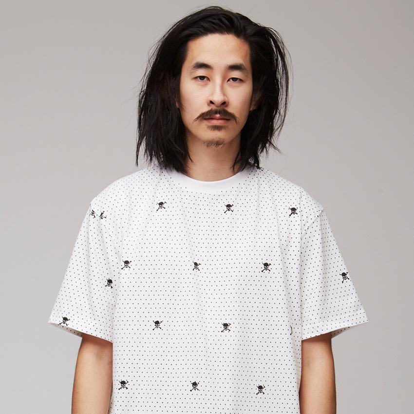 VV — Villainous Visard – pánské bílé tričko s tečkami a lebkami – Nexus 6