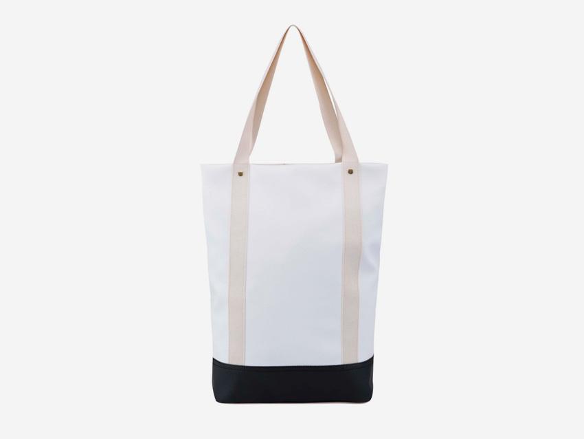 Plátěná bavlněná taška s koženkou Zoot & Mumray – bílá, krémová, městská taška do ruky se zipem