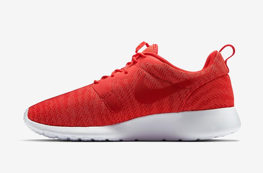 Nike Roshe One Knit Jacquard – červené, bílá podrážka – Nike Roshe Run, sneakers, běžecké tenisky