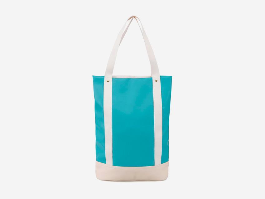 Plátěná bavlněná taška s koženkou Zoot & Mumray – modrá, tyrkysová, krémová, městská taška do ruky se zipem