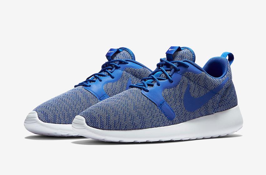 Nike Roshe One Knit Jacquard – modré, šedo-modré, bílá podrážka – Nike Roshe Run, tenisky, sneakers