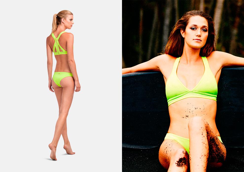 Roxy – jednodílné plavky, žluto-zelené, křiklavé, surfařské, swimwear