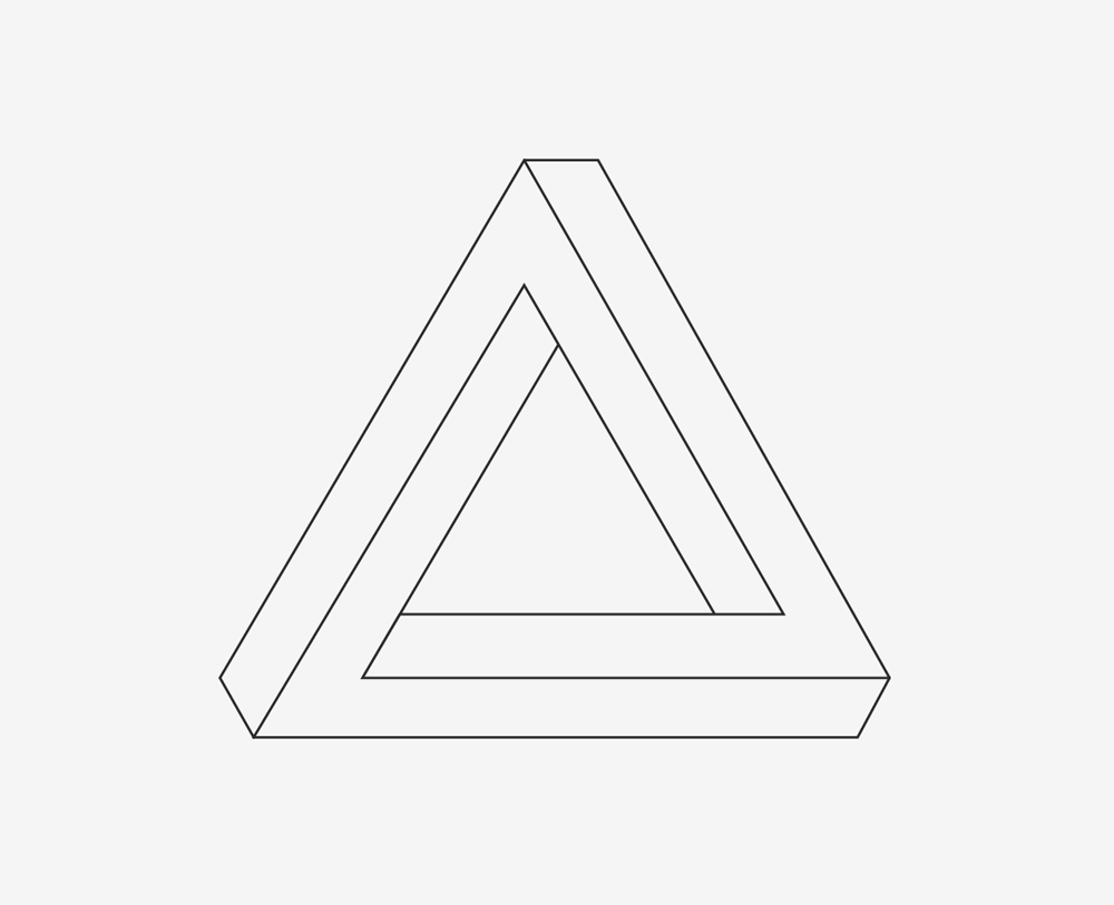 Penroseho trojúhelník, Penrose triangle, M. C. Escher, paradox