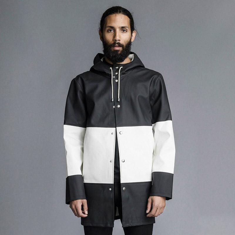 Stutterheim – plášť do deště s kapucí – pánský, dámský – bílo-černý, černo-bílý