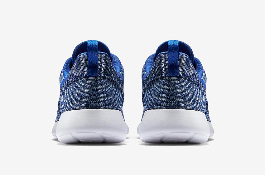 Nike Roshe One Knit Jacquard – modré boty, zadní pohled – Nike Roshe Run, tenisky, sneakers