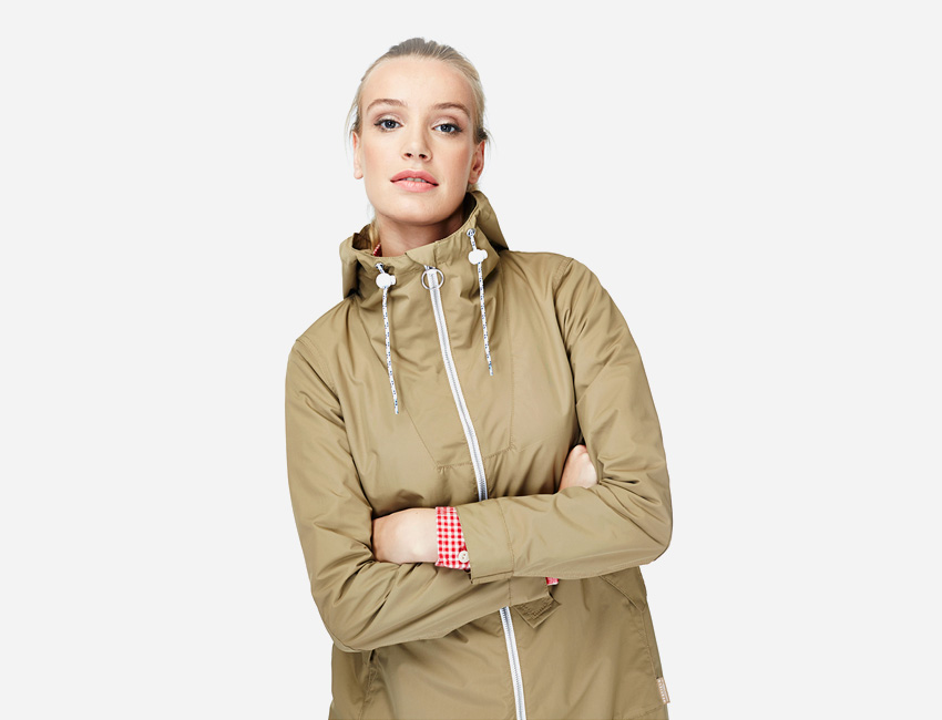 Penfield – hnědá khaki dámská bunda se stojáčkem a kapucí – dámské oblečení – jaro/léto 2015