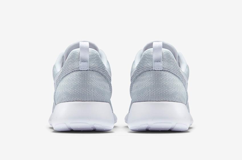 Nike Roshe One Knit Jacquard – šedé boty, zadní pohled – Nike Roshe Run, tenisky, sneakers