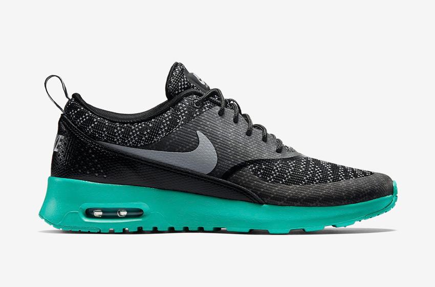 Nike Air Max Thea Jacquard – dámské boty, dámské tenisky – černé, tmavě šedé, zelená podrážka – běžecké sneakers